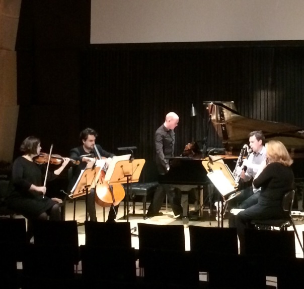 Syzygy Ensemble rehearse Undine: The Spirit of Water at the Melbourne Recital Centre. Photo courtesy of the artist.