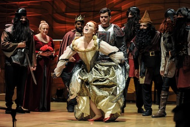 Elizabeth Barrow as the Queen with the Seven Dwarves in Snow White and Other Grimm Tales. Photo by David Ng.