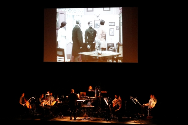 Argonaut Ensemble perform Olga Neuwirth's live score to Maudite soit la guerre. Photo by Marty Williams.