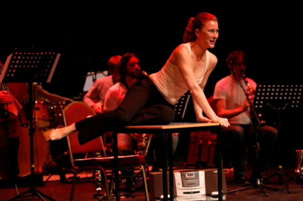 Fabienne Séveillac performs The Exhausted with soundinitiative. Photo by Marty Williams.
