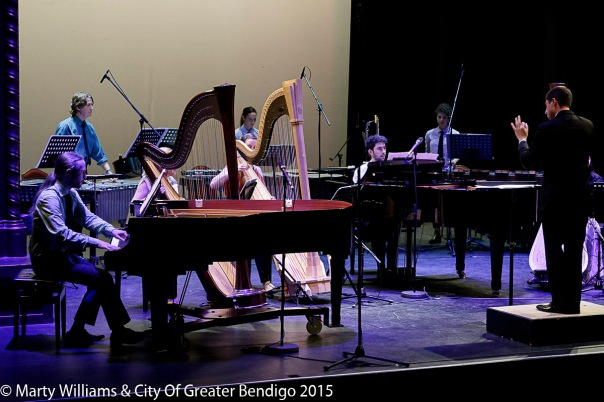 The Argonaut Ensemble perform Boulez's Sur incises. Photo by Marty Williams.