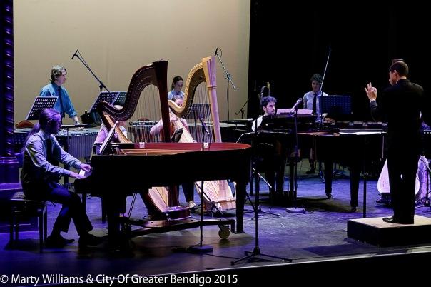 The Argonaut Ensemble perform Boulez's Sur incises. Photo by Marty Williams.
